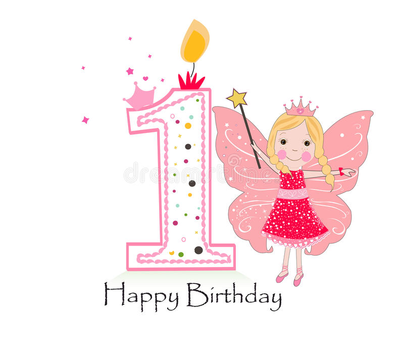 Happy first birthday candle. Baby girl greeting card with fairy tale vector illustration