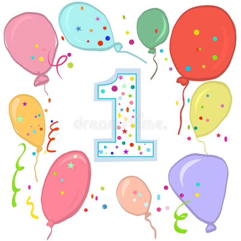 Happy first birthday. Colorful balloon greeting card royalty free illustration