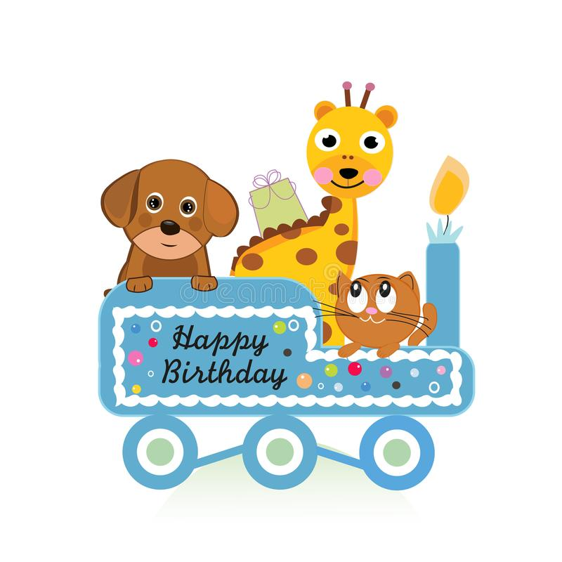 Happy first birthday with cute dogs baby girl greeting card royalty free illustration
