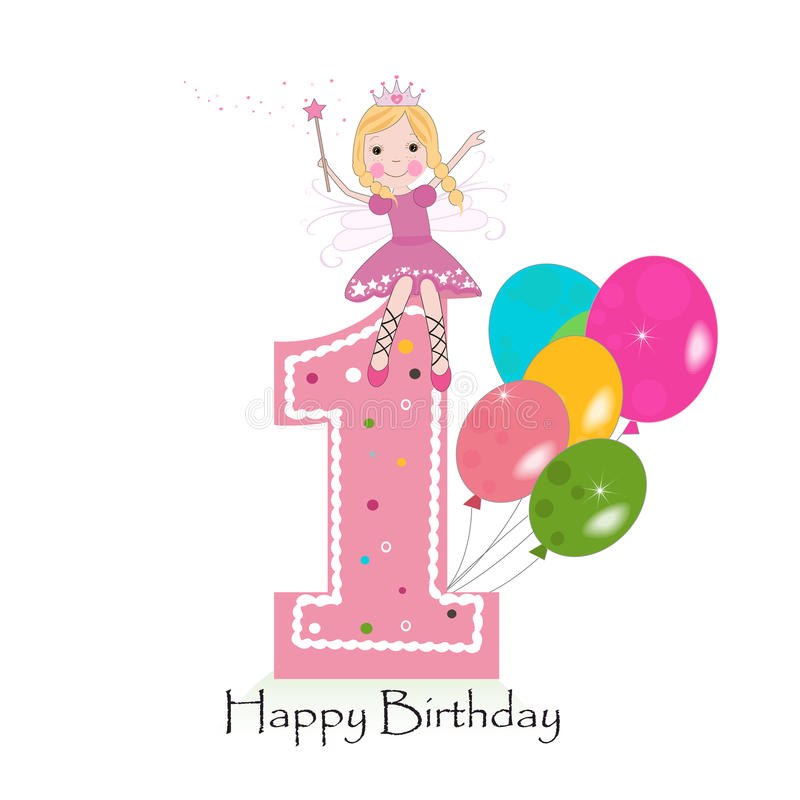 Happy first birthday greeting card with cute fairy tale stock illustration