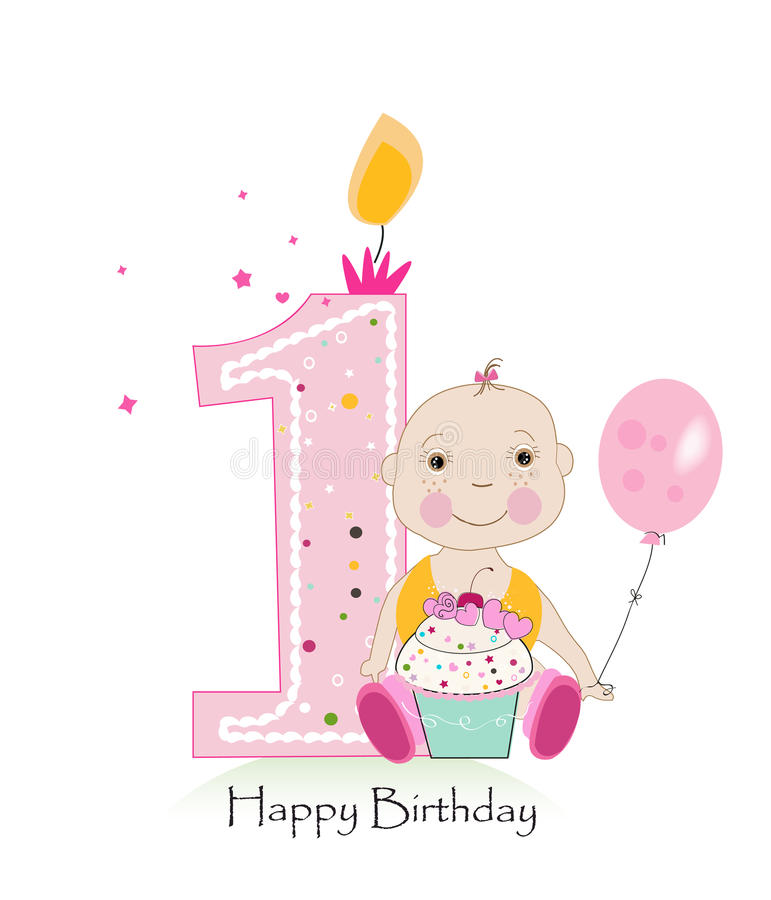Happy first birthday greeting card one candle with baby girl vector download happy first birthday greeting card one candle with baby girl vector illustration stock vector m4hsunfo Image collections