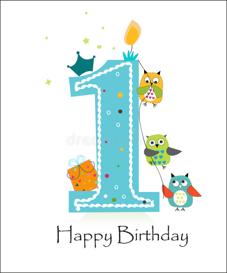 First Birthday Candle With Animals Stock Photo: Happy First Birthday With Owls Baby Boy Greeting Card
