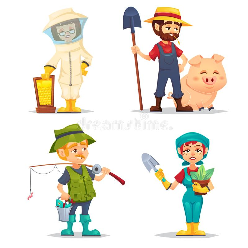 Happy fisherman, Beekeeper, farmer in straw hat with happy domestic hog pig, gardener woman with shovel and plant pot. Smiling car vector illustration
