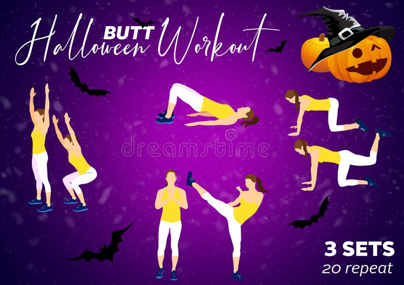 Happy fitness Halloween motivation for your better workout stock photo