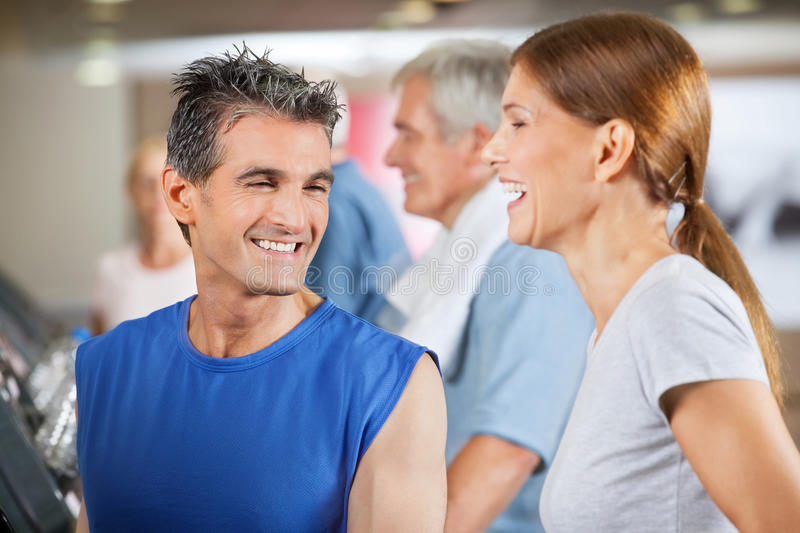 Happy Fitness Trainer And Woman Stock Photo