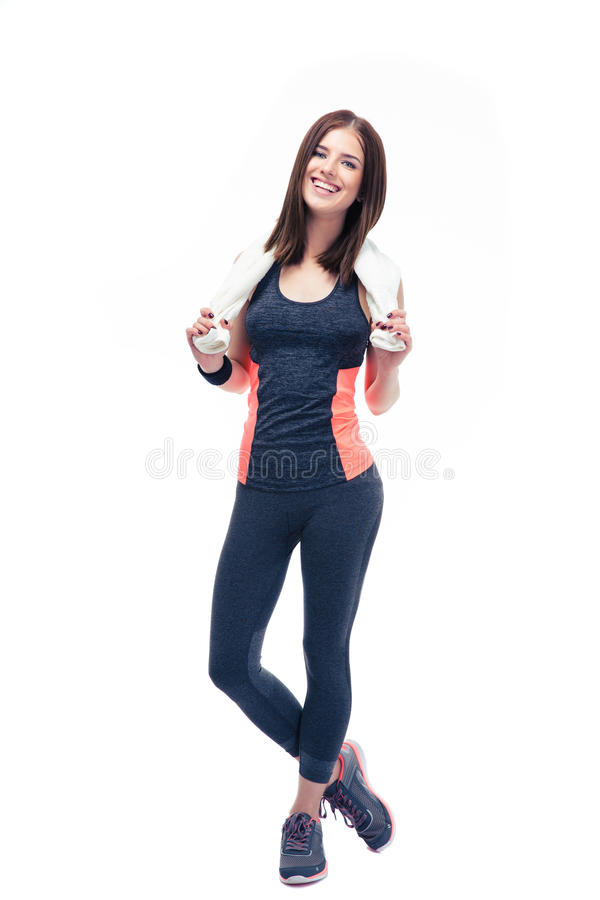 Happy fitness woman holding towel royalty free stock image