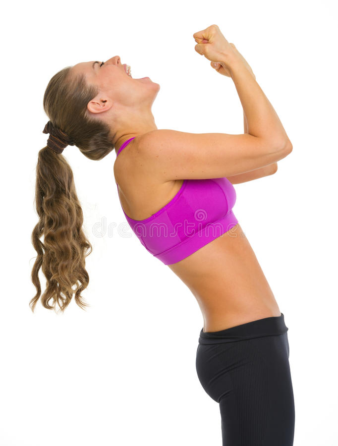 Happy Fitness Young Woman Rejoicing Success Stock Photo