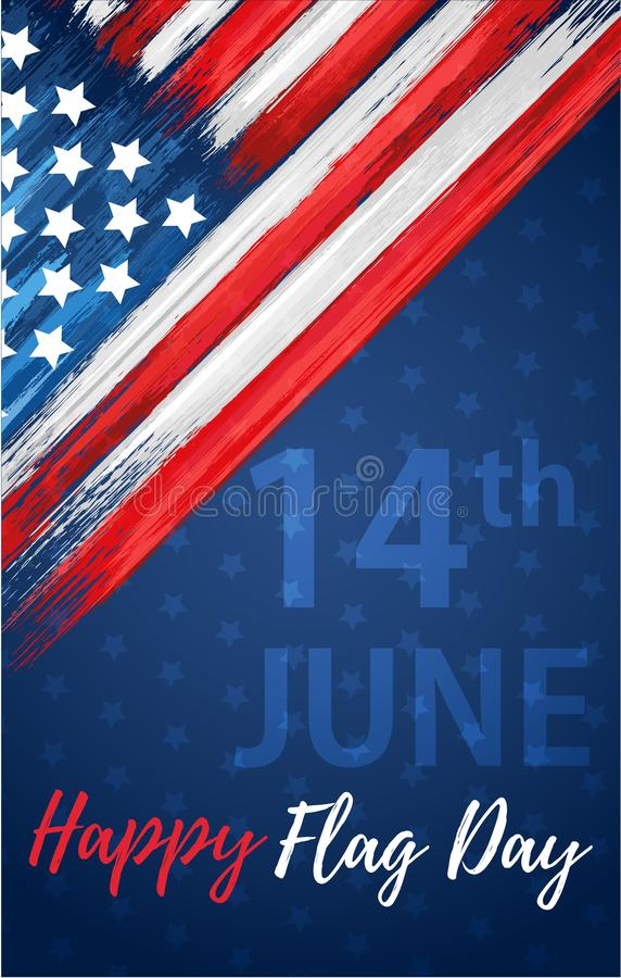 Happy flag day 14th of June. United states of America day greeting card. American flag symbol with paint brush strokes. National patriotic and political stock images
