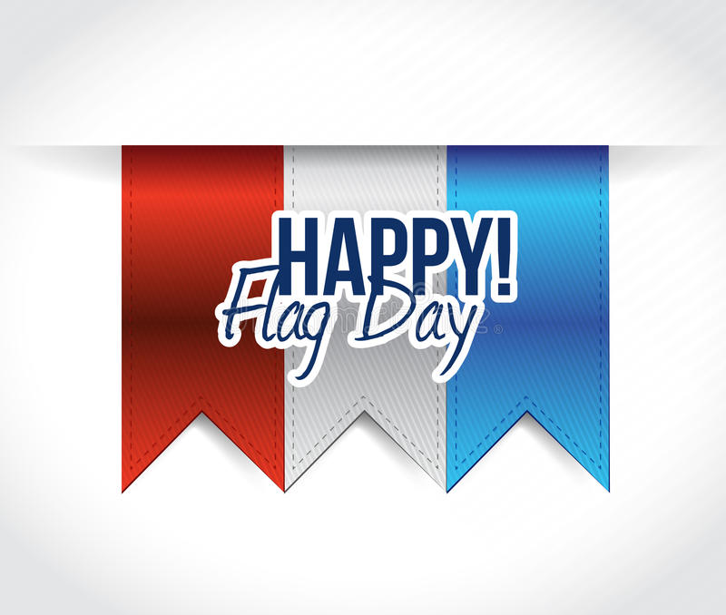 happy flag day us red, white and blue banners stock illustration