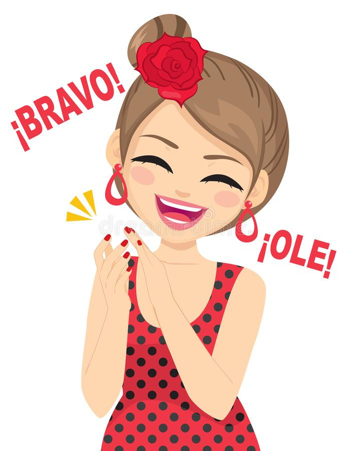Happy Flamenco Dancer Woman Clapping royalty free illustration