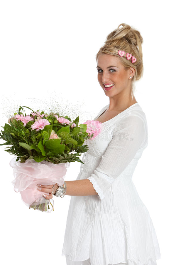 Happy flower girl royalty free stock images