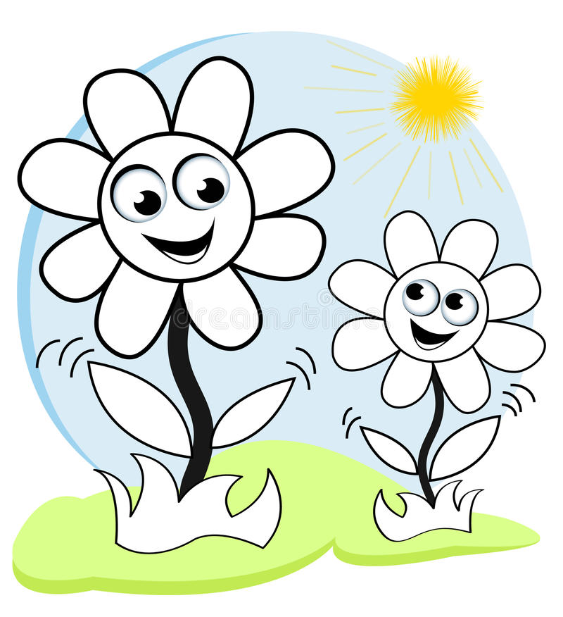 Happy flowers in the sun vector illustration