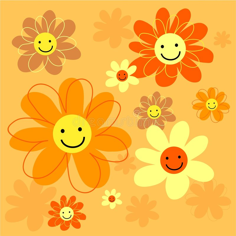 Happy flowers tile stock illustration