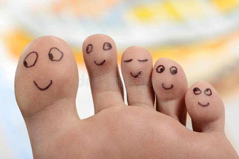 Happy foot feet toes smiling royalty free stock images