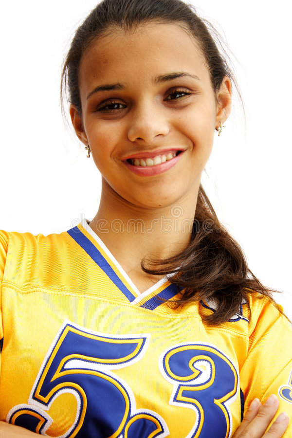 Happy football player girl royalty free stock image