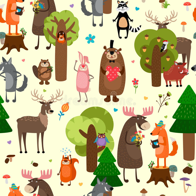 Happy forest animals seamless pattern background royalty free illustration