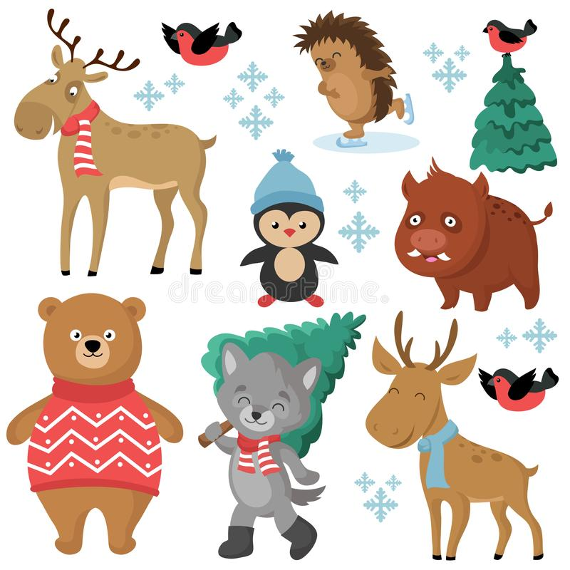 Happy forest animals in winter and christmas trees isolated on white background royalty free illustration