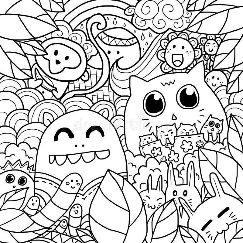 Happy Forest Doodle royalty free stock photo