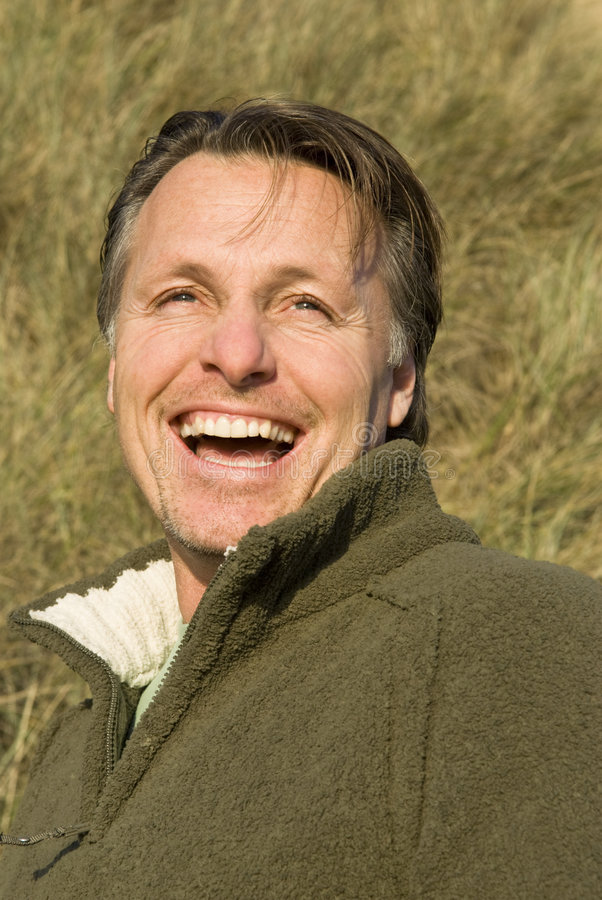 Happy forties man stock image
