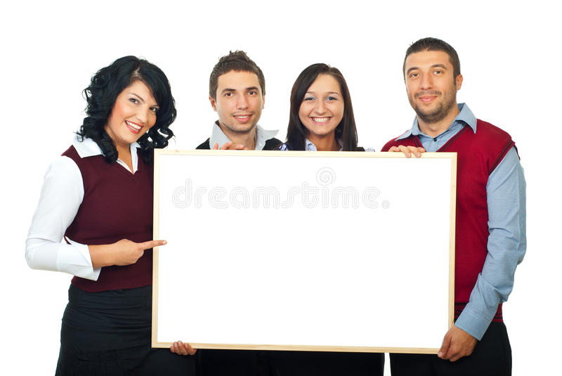 Happy four people with billboard royalty free stock photos
