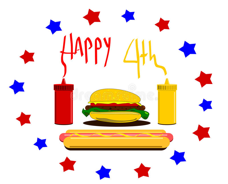 Download Happy Fourth  Design With Hamburger And Condiments Stock Vector - Image: 24855979