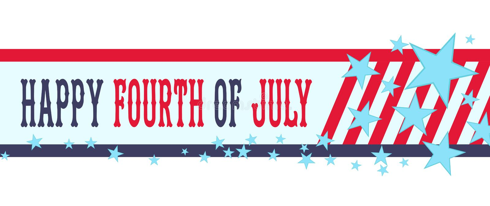Happy fourth of July banner with stars and stripes. USA Independence Day or 4th of July decoration. royalty free illustration