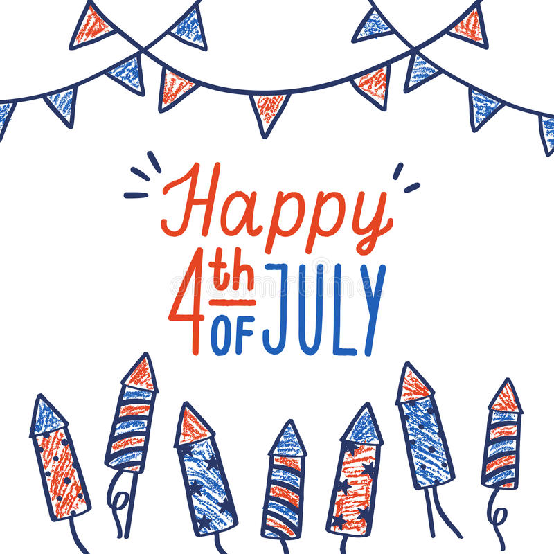 Happy fourth of July card. stock illustration