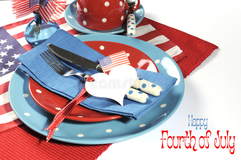 Happy Fourth of July dining table place setting with sample text royalty free stock photos