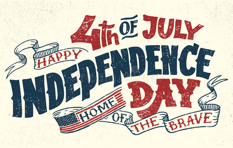 Happy Fourth of July hand lettering greeting card royalty free illustration