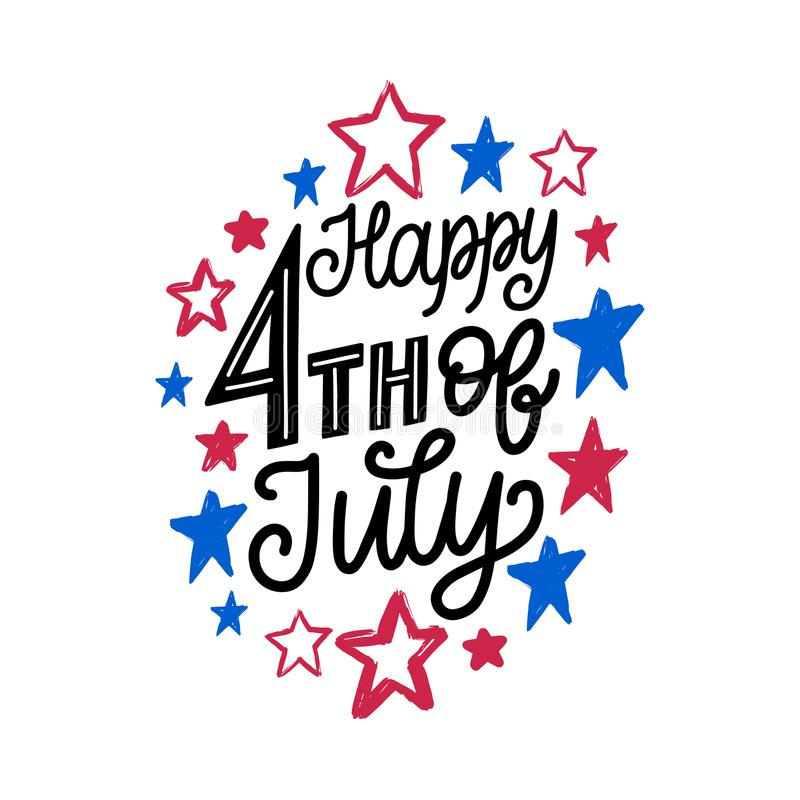 Happy Fourth of July, hand lettering. Vector calligraphy for Independence Day on stars background. Happy Fourth of July, hand lettering. Vector inscription for royalty free illustration