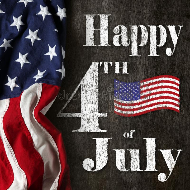 Happy 4th of July text with red, white, and blue American Flag. Happy fourth of July text with red, white, and blue American Flag royalty free stock photo