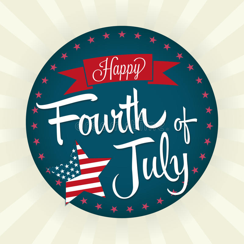 Happy Fourth of July. Fourth of July Vector Illustration with Banner and Star vector illustration