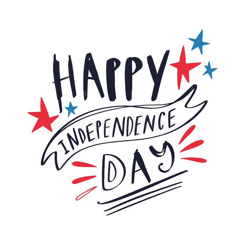 Free Happy Fourth Of July Hand Drawn Card. Doodle Elements Set, Decoration Royalty Free Stock Photography - 152110257