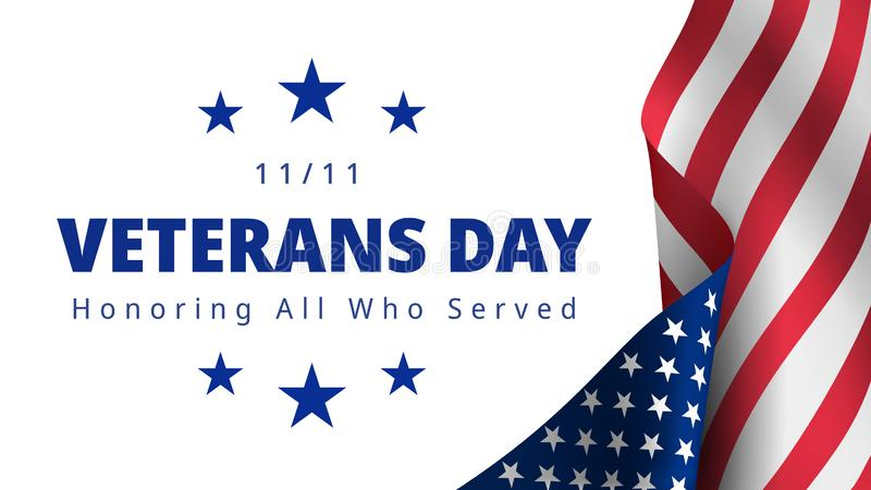 Happy and Free Veterans Day November 11th. Honoring All Who Served greeting card. Creative 3d style template. United state of America, US design. Beautiful USA royalty free illustration