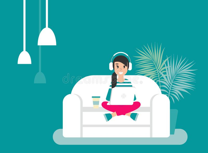 Happy freelancer girl with earphones on sofa with laptop. creative hipster work at home. stock illustration