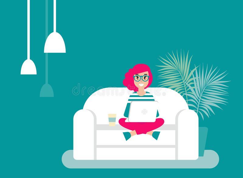 Happy freelancer girl with glasses on sofa with laptop. creative hipster work at home. vector illustration