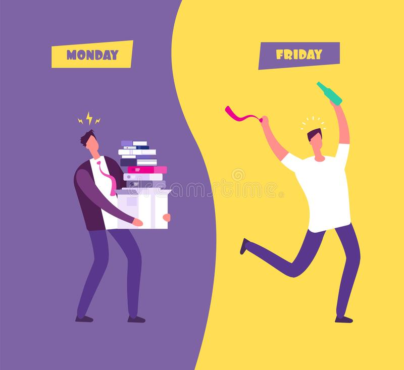 Happy friday concept. Businessman in sad overwhelmed monday vs relax friday. Enjoy weekend cartoon vector background royalty free illustration