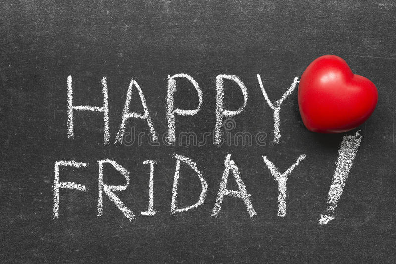 Happy Friday. Exclamation handwritten on chalkboard with red heart symbol royalty free stock image