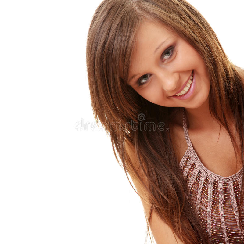 Happy and friendly young lady. Posing isolated on white background royalty free stock photography