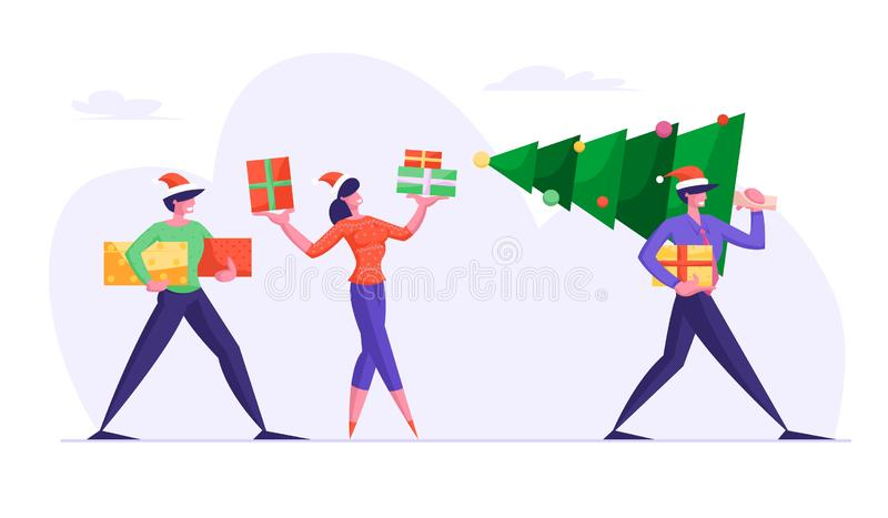 Happy Friends Carrying Christmas Tree Preparing for Winter Season Holidays. Business People Walking on Corporate Party royalty free illustration
