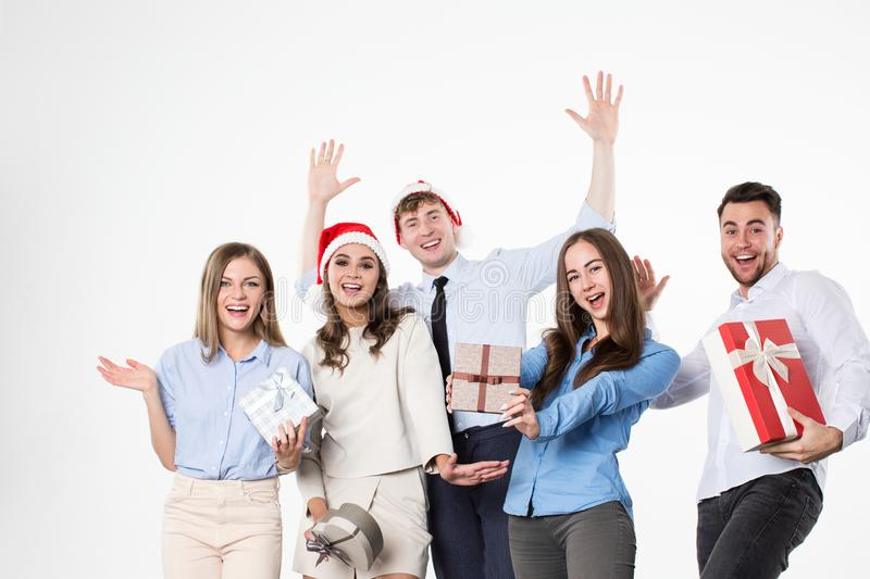 Happy friends celebrate Christmas and New Year stock photo