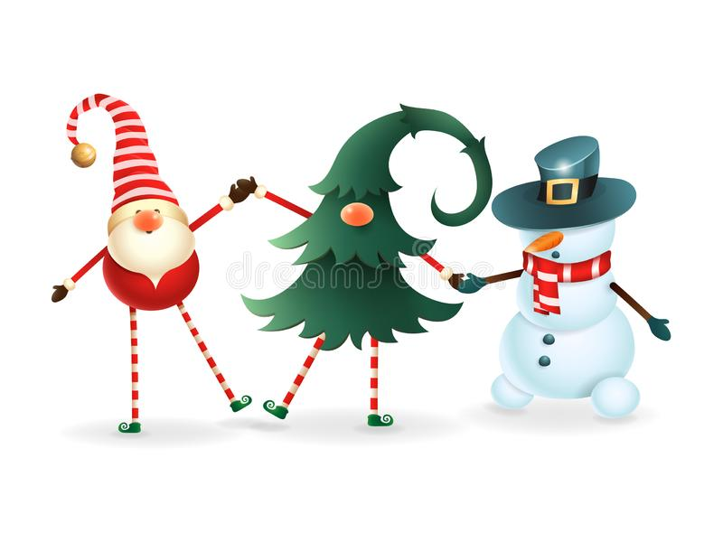 Happy friends celebrate Christmas - Scandinavian gnome, hidden gnome in christmas tree and snowman royalty free illustration
