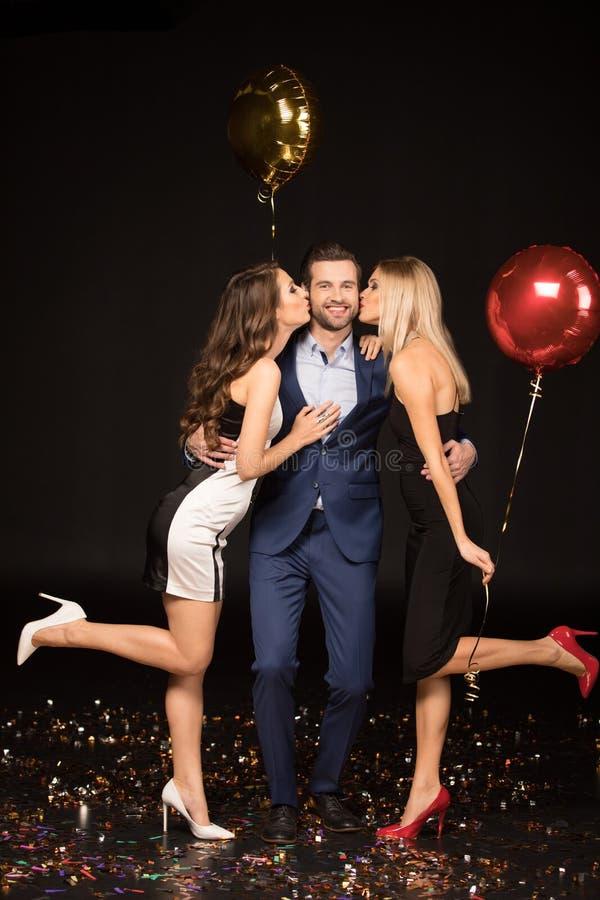 Happy friends celebrating royalty free stock photo