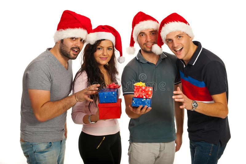 Download Happy Friends With Christmas Gifts Stock Image - Image: 28277053