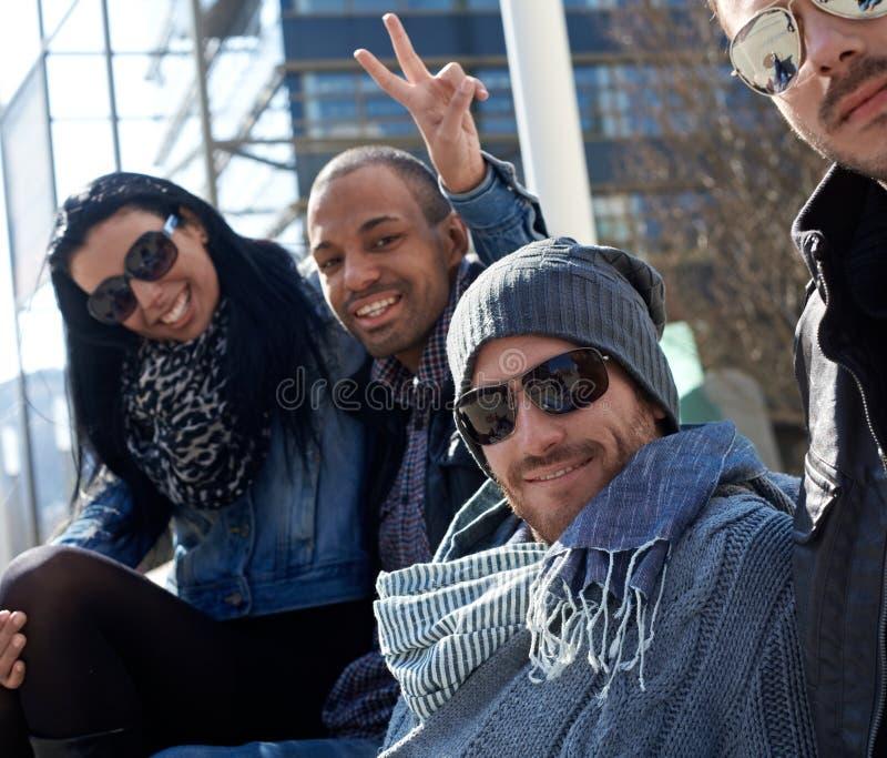 Download Happy Friends Enjoying Sunshine Stock Image - Image of clothing, good: 26496411