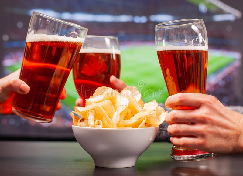Happy friends or football fans are clinking glasses of beer royalty free stock image