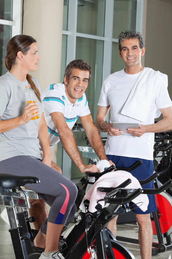 Happy Friends In Health Club stock image