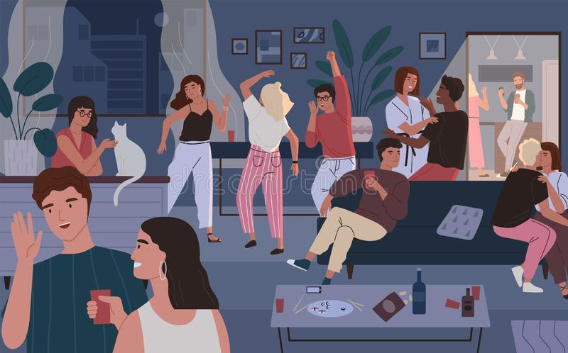 Happy friends at home party. Apartment or living room full of people having fun, dancing and talking. Young cute men and. Women spending time together at night royalty free illustration