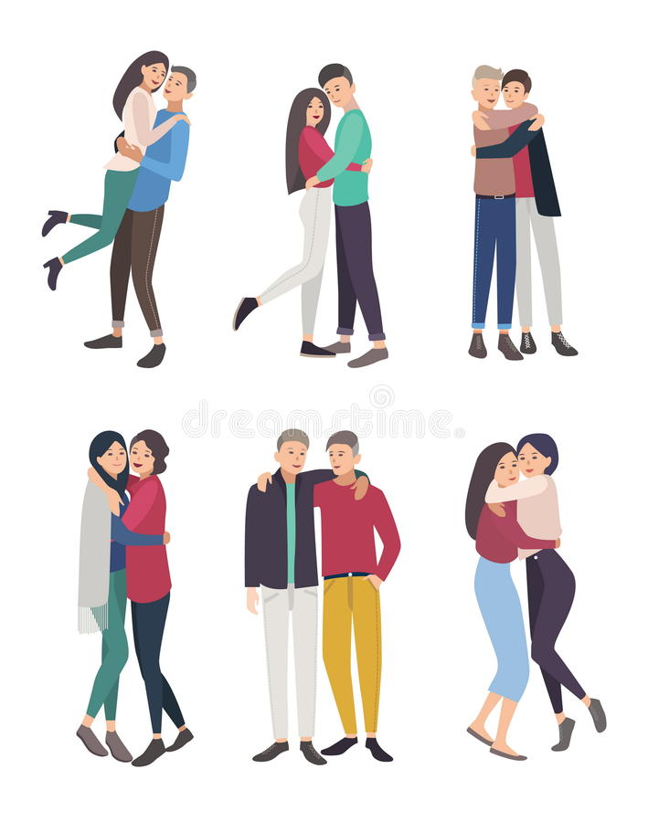 Happy friends hug set. guys and girls cuddling, colorful flat illustration. Happy friends hug set. guys and girls cuddling, colorful flat illustration vector illustration