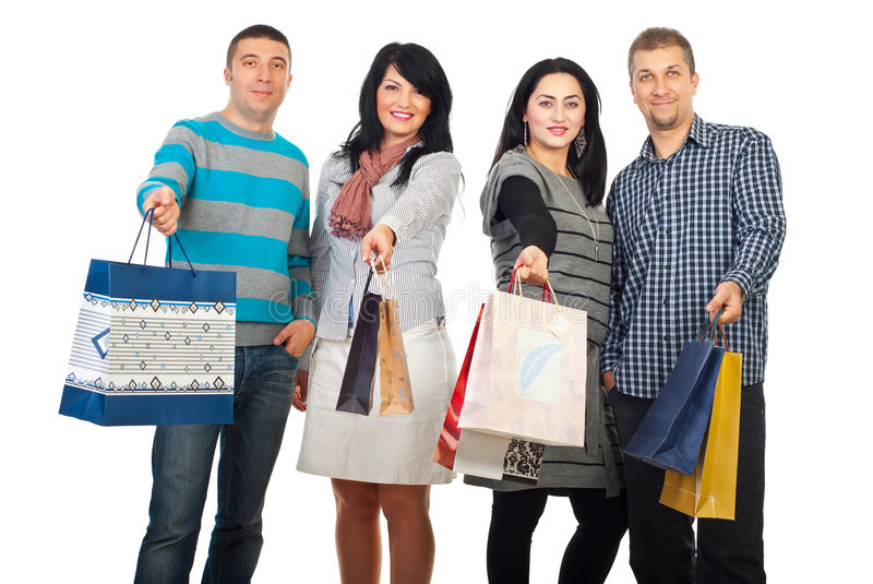 Happy friends people at shopping stock photography